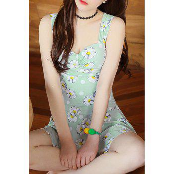 Sweet Sweetheart Neck Floral Pattern One Piece Women's Swimsuit