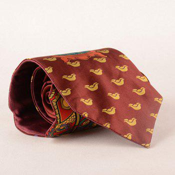Stylish Chinese Ancient God Pattern Men's Wacky Tie - COFFEE