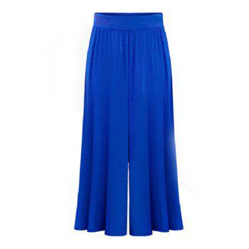 Stylish Women's Wide Leg Blue Capri Pants - BLUE XL