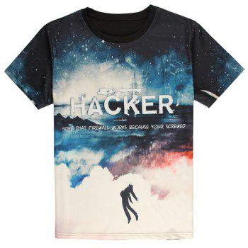 Trendy Round Neck 3D Sky Pattern Letters Print Short Sleeve Men's T-Shirt
