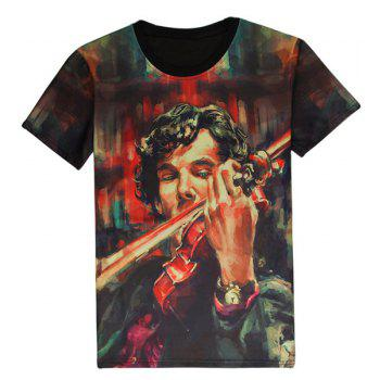 Trendy Round Neck 3D Violinist Pattern Short Sleeve Men's T-Shirt