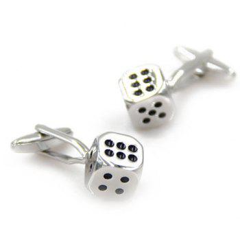 Pair of Trendy Dice Shape Alloy Cufflinks For Men - SILVER