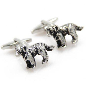 Pair of Trendy Puppy Shape Alloy Cufflinks For Men - SILVER SILVER