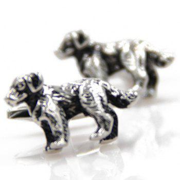 Pair of Trendy Puppy Shape Alloy Cufflinks For Men -  SILVER