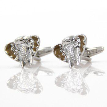 Pair of Trendy Emboss Elephant Head Shape Cufflinks For Men