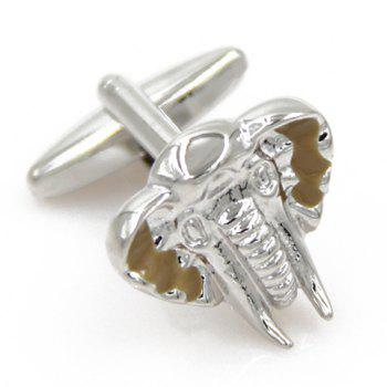 Pair of Trendy Emboss Elephant Head Shape Cufflinks For Men -  SILVER