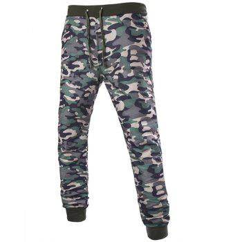 Trendy Beam Feet Camo Print Rib Splicing Drawstring Men's Pants