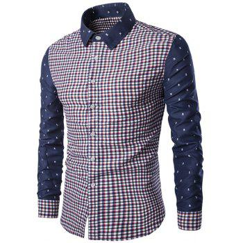 Trendy Turn-Down Collar Plaid Print Tiny Skulls Pattern  Long Sleeve Men's Shirt RED