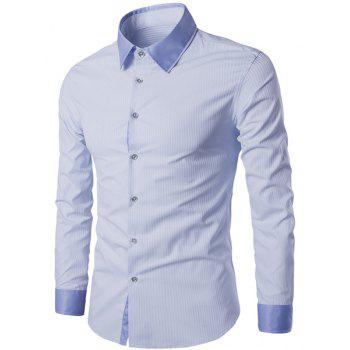 Trendy Turn-Down Collar Color Block Splicing Long Sleeve Men's Shirt