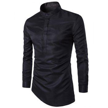 Trendy Stand Collar Solid Color Irregular Hem Long Sleeve Men's Shirt