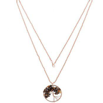 Life Tree Round Woven Pendant Necklace - GOLDEN