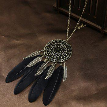 Faux Feather Leaf Floral Sweater Chain