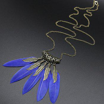 Leaf Feather Tassel Sweater Chain - BLUE BLUE