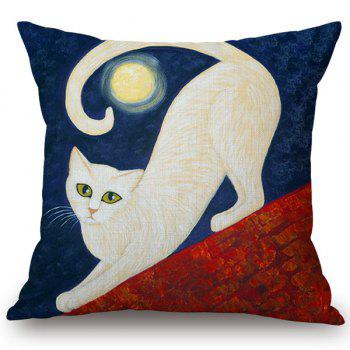 Chic Quality Cotton and Linen Moon and Cat Pattern Pillow Case(Without Pillow Inner)