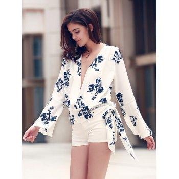Alluring Women's Plunging Neckline Flare Sleeve Floral Print T-Shirt