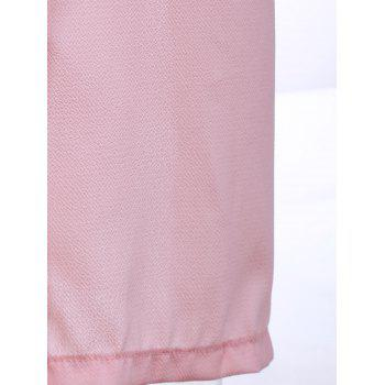 Trendy Round Collar Long Sleeve Pink High Slit Women's Cover-Up Dress - PINK M