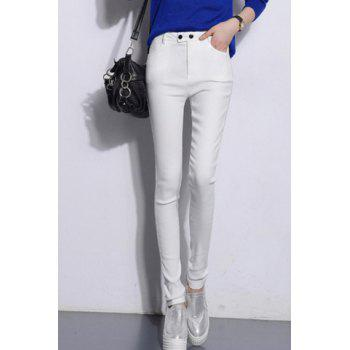 High Waist Black Solid Color Pants For Women