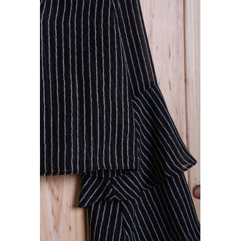 Fashion Striped Tiered Ruffle Sleeve Women's Crop Top - BLACK XL