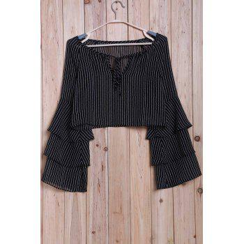 Crop Top Fashion Striped Tiered Ruffle femme manches - Noir L