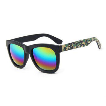 Chic Camouflage Pattern Leg Rainbow Color Lenses Women's Sunglasses - BLACK BLACK