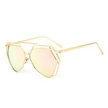 Chic Hollow Metal Golden Polygonal Frame Women's Sunglasses - PINK PINK