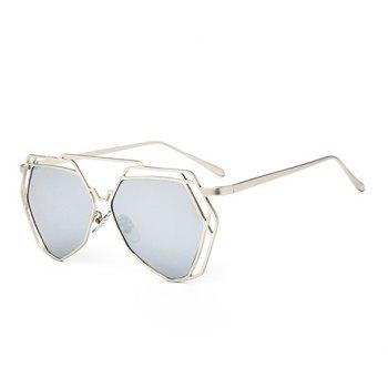 Chic Hollow Metal Silver Polygonal Frame Women's Sunglasses - SILVER SILVER