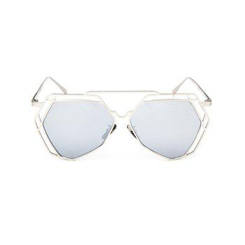 Chic Hollow Metal Silver Polygonal Frame Women's Sunglasses -  SILVER