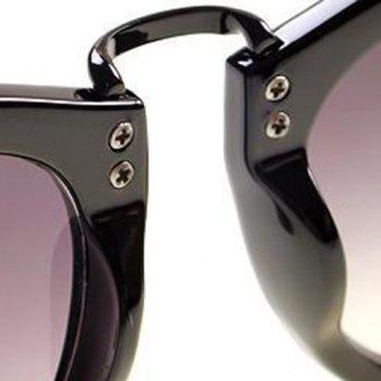 Chic Arrow Shape Embellished Black Frame Women's Sunglasses -  DEEP GRAY