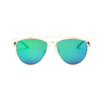 Chic Metal Bar Embellished Golden Frame Women's Sunglasses - GREEN GREEN