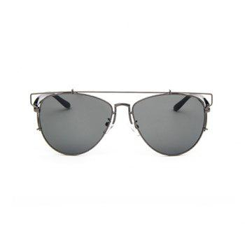 Chic Metal Bar Embellished Gun Color Frame Women's Sunglasses
