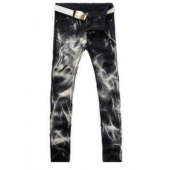 Casual Wolf Printing Zip Fly Straight Legs Denim Pants For Men