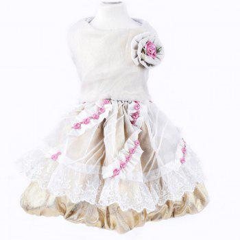 Stylish Pet Supplies Rose Embellished Lace Princess Dress Puppy Clothing