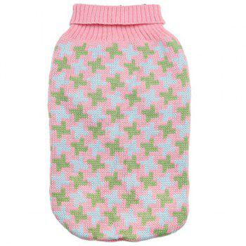 Stylish Pet Supplies Houndstooth Pattern Color Matching Sweater Puppy Clothing - PINK M