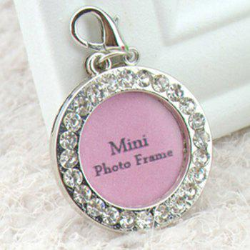 Stylish Rhinestone Decor Round Type Dog ID Tag Photo Frame