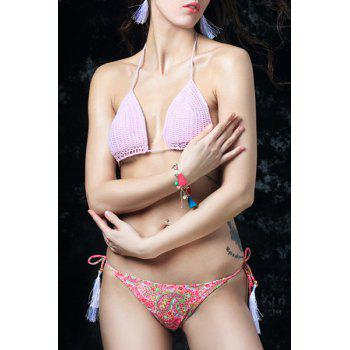 Chic Halter Neck Crochet Paisley Print   String Women's Bikini Set