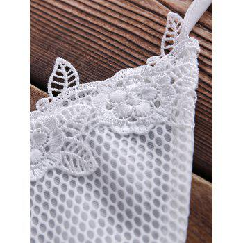 Endearing Halter Cut Out White Lace   Bikini For Women - WHITE WHITE