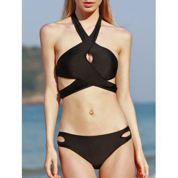 Halter Criss Cross Cut Out Bikini Set
