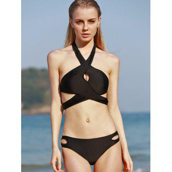 Halter Criss Cross Cut Out Bikini Set - BLACK S