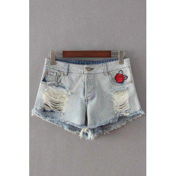 Stylish Broken Hole Embroidery Denim Women's Shorts