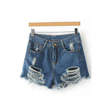 Stylish Staight Leg Broken Hole Denim Women's Shorts