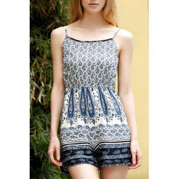 Stylish Spaghetti Straps Printed Backless Romper For Women
