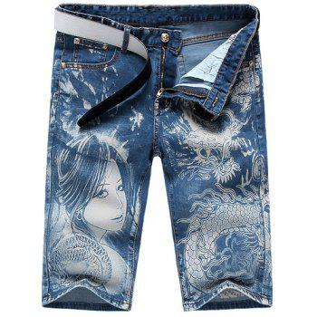 Casual Men's Zip Fly Dragon Lady Printing Denim Shorts - LIGHT BLUE LIGHT BLUE