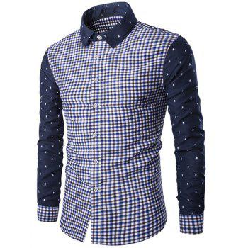 Trendy Turn-Down Collar Plaid Print Tiny Skulls Pattern  Long Sleeve Men's Shirt