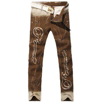Casual Ombre Printing Zip Fly Denim Pants For Men - CHOCOLATE CHOCOLATE