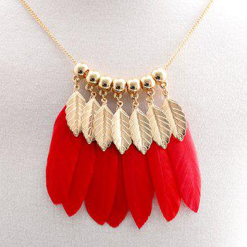 Beads Faux Leaf Feather Tassel Sweater Chain - RED RED