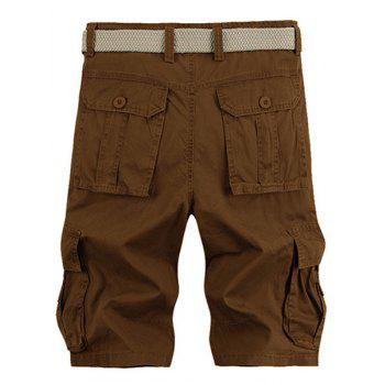 Solid Color Stereo Patch Pocket Straight Leg Zipper Fly Men's Cargo Shorts - COFFEE 36