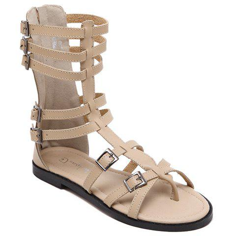 Leisure Buckles and Flip Flop Design Women's Sandals - APRICOT 39