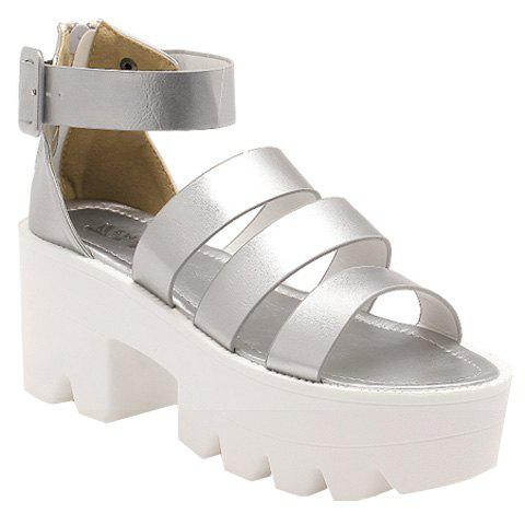 Fashionable Platform and Solid Colour Design Women's Sandals - SILVER 38
