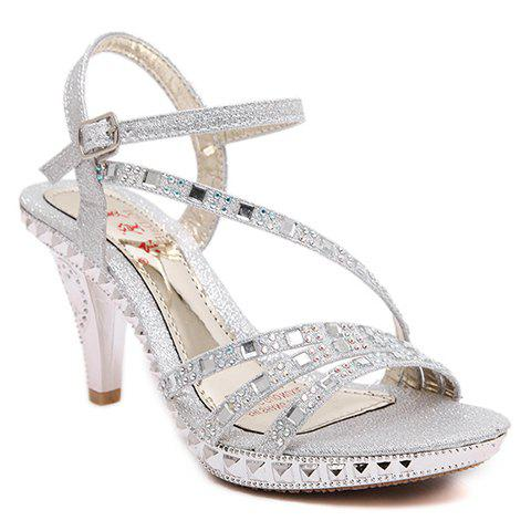 Stylish Rhinestones and Sequined Cloth Design Women's Sandals - SILVER 36