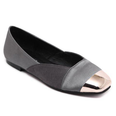 Leisure Splicing and Metal Toe Design Women's Flat Shoes - GRAY 36